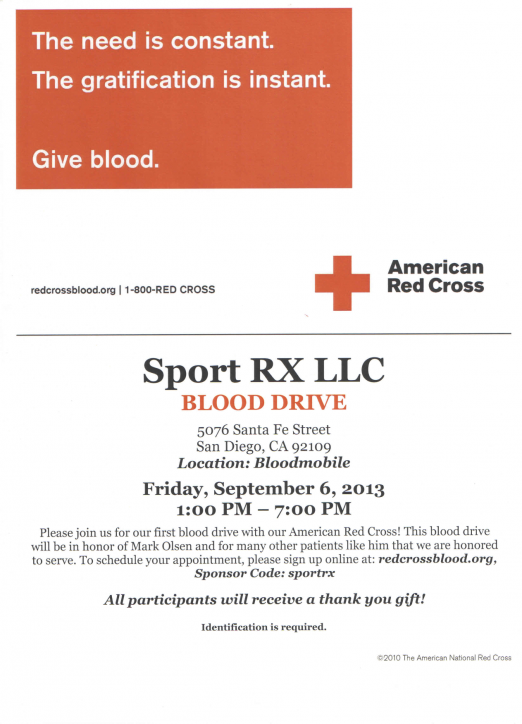 SportRx Hosts Blood Drive Inspired By Oakley Rep Mark Olson