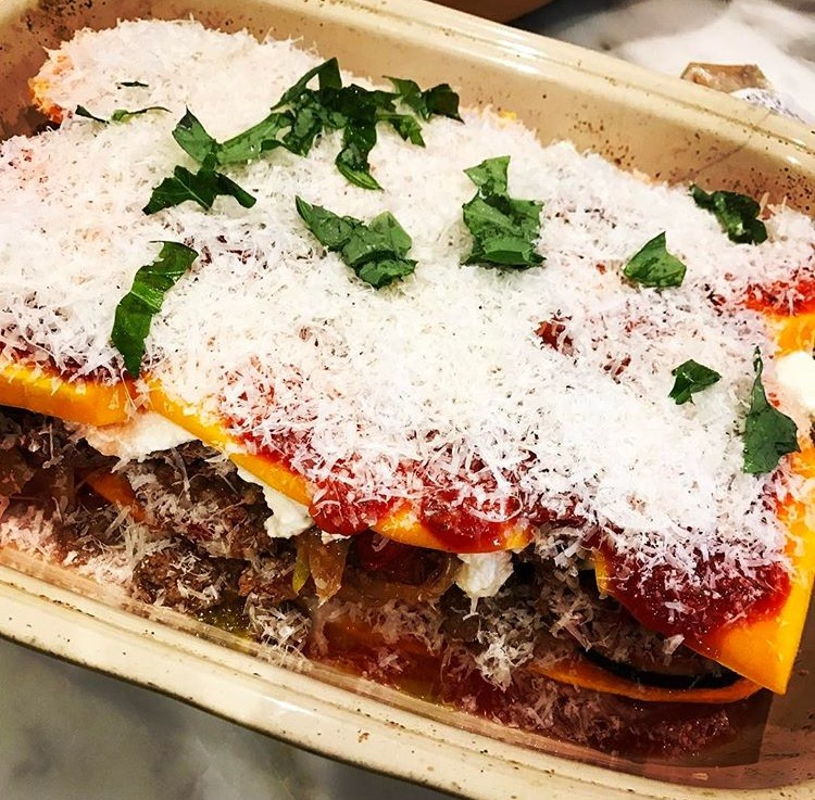 Paleo Butternut Squash Bison Lasagna